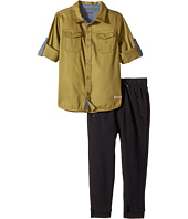 Hudson Kids - Two-Piece Woven Button Down Shirt Fleece Jogger (Toddler)