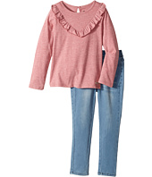 Hudson Kids - Two-Piece Jersey Ruffle Top Stretch Denim Jogger (Toddler)