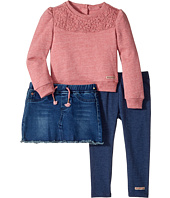 Hudson Kids - Three-Piece Heathered French Terry w/ Lace Overlay Stretch Denim Skirt Jersey Leggings (Toddler)