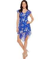 Jessica Simpson - Printed Ruffle Dress with Asymmetrical Hem JS7A9387