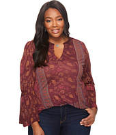 Lucky Brand - Plus Size Mix Print Peasant Top