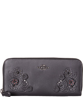 COACH - Tea Rose Tooling with Applique Slim Accordion Zip Wallet