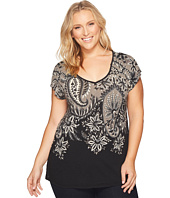 Lucky Brand - Plus Size Short Sleeve Big Paisley Tee