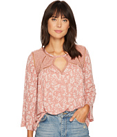 Lucky Brand - Ditzy Lace Mix Peasant Top