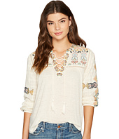 Lucky Brand - Lace-Up Embroidered Top
