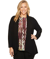 Karen Kane Plus - Plus Size Faux Leather Patch Sweater Jacket