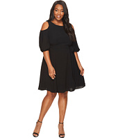 Adrianna Papell - Plus Size Gauzy Crepe Cold Shoulder Dress