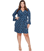 London Times - Plus Size Abstract Fleece Bell Sleeve Wrap Dress