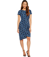 London Times - Abstract Fleece Side Ruched Sheath Dress