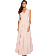 Halston Heritage - Cap Sleeve V-Neck Silk Faille Gown