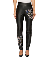 CATHERINE Catherine Malandrino - Full Length Fitted Faux Leather Embroidered Pants