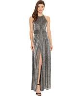 Halston Heritage - Sleeveless High Neck Texture Metallic Gown w/ Strap Detail