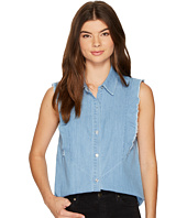 7 For All Mankind - Sleeveless Ruffled Denim Shirt in Skyway Authentic Blue