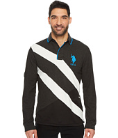 U.S. POLO ASSN. - Slim Fit Color Block Long Sleeve Pique Polo Shirt