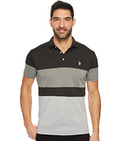 U.S. POLO ASSN. - Slim Fit Color Block Short Sleeve Poly Jersey Polo Shirt