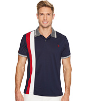 U.S. POLO ASSN. - Slim Fit Color Block Short Sleeve Poly Pique Polo Shirt