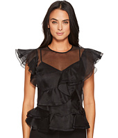 Rebecca Taylor - Sleeveless Organza Ruffle Top
