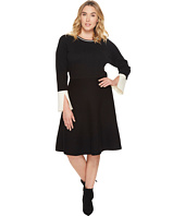 Vince Camuto Specialty Size - Plus Size Long Sleeve Split Cuff Flared Dress