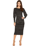 Nicole Miller - Elizabetta Dotted Stripes Long Sleeve Jersey Dress