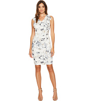 Calvin Klein - Printed V-Neck Ruffle Dress