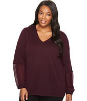 Calvin Klein Plus - Plus Size V-Neck with Chiffon Cuff Blouse