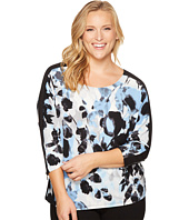 Calvin Klein Plus - Plus Size Printed Dolman Top with Zipper Cuffs
