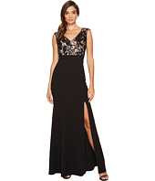 Adrianna Papell - Cap Sleeve Long Gown with Lace Bodice
