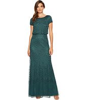Adrianna Papell - Short Sleeve Blouson Beaded Gown
