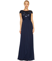 Adrianna Papell - Short Sleeve Gown with Shirred Bodice and Floral Bead Motif