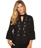 Ivanka Trump - Mock Neck Bell Sleeve Embroidered Blouse