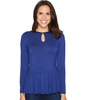 Ivanka Trump - Knit Peplum Long Sleeve with Keyhole