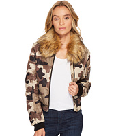 ROMEO & JULIET COUTURE - Camo Bomber Jacket with Faux Fur Collar
