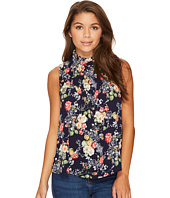 ROMEO & JULIET COUTURE - High Neck and Keyhole Front Top with All Over Floral Print