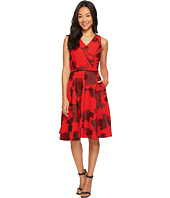 Tahari by ASL Petite - Petite Embroidered Tea Length Fit-and-Flare Dress