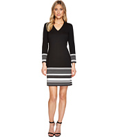 Calvin Klein - Striped Hem & Cuff Sleeved Dress CD7P29CR