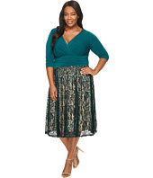 Sangria - Plus Size 3/4 Sleeve V-Neck Lace Skirt Fit and Flare Dress