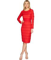 Sangria - Long Sleeve Textured Lace Midi Dress