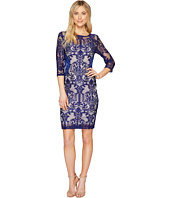 Sangria - 3/4 Sleeve Lace with Side Panel Detail Sheath Dress