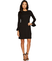 London Times - Petite Long Sleeve Bell Cuff Fit & Flare Dress