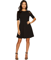 London Times - Petite Elbow Sleeve w/ Lace Cold Shoulder Fit & Flare