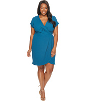 London Times - Plus Size Drop Sleeve Wrap Dress Tulip Hem
