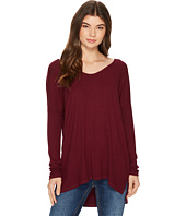 Michael Stars - 2x1 Rib Long Sleeve Wide Vee Neck Hi Low