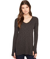 Michael Stars - Jasper Poor Boy Rib V-Neck Long Sleeve Tunic with Slits