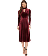 Maggy London - Pleated Velvet Fit & Flare with Turtleneck Detail