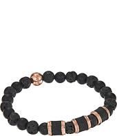 Steve Madden - Stainless Steel Lava Stone Stretch Bracelet