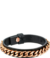 Steve Madden - Stainless Steel Curb Chain Leather Bracelet