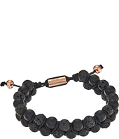 Steve Madden - Stainless Steel Lava Stone Bead Bracelet