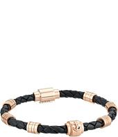 Steve Madden - Stainless Steel Rondelle/Braid Leather Bracelet