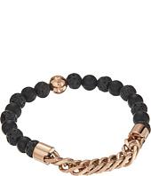 Steve Madden - Stainless Steel Lava Stone Curb Chain Bracelet
