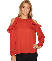 London Times - Ruffle Cold Shoulder Top